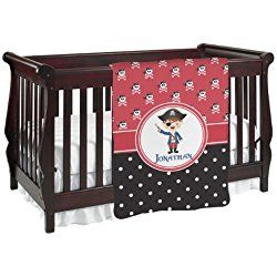 Pirate & Dots Personalized Red and Black Baby Blanket (Double Sided)