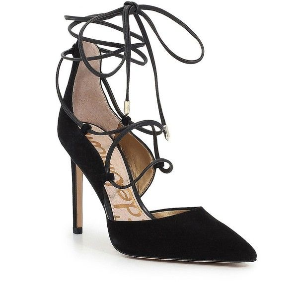 Sam Edelman Dayna Point Toe Lace-Up Pumps ($120) ❤ liked on Polyvore featuring shoes, pumps, black, high heels stilettos, black stilettos, black strappy pumps, black pointed toe pumps and strappy pumps