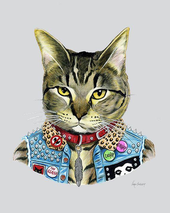 Gato punk lámina - retrato de mascotas - animales en la ropa - Animal Art - Punk Rock - gato de Tabby - Ryan Berkley ilustración 11 x 14