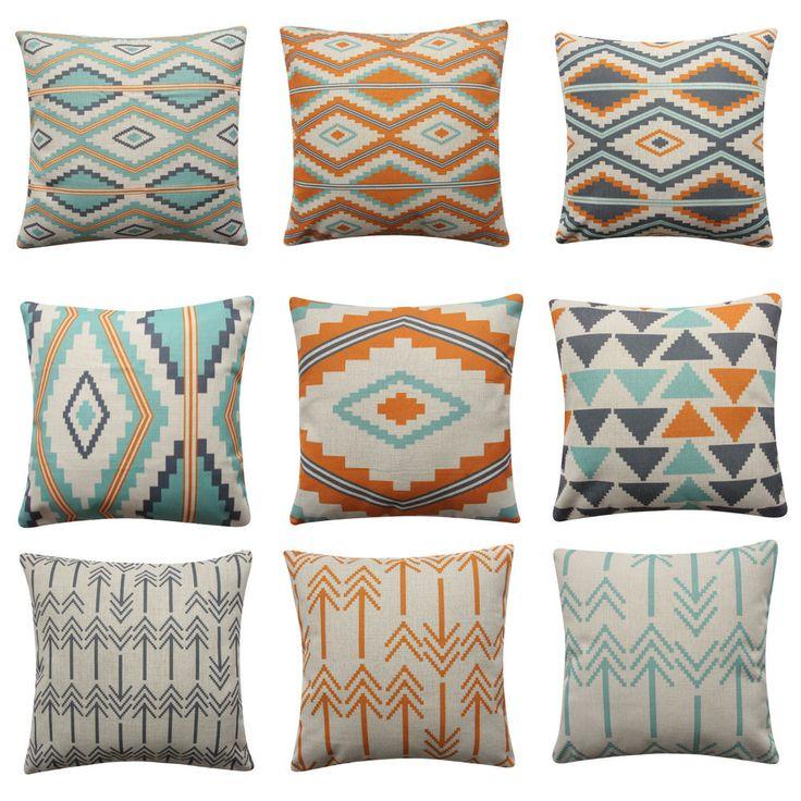 Mint Turquoise Tribal Cushion Cover Arrow Pillow Cover Orange Aztec BOHO Pillow