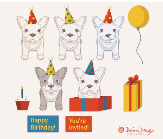 Birthday French Bulldogs Clipart Commercial Use Frenchie Clip