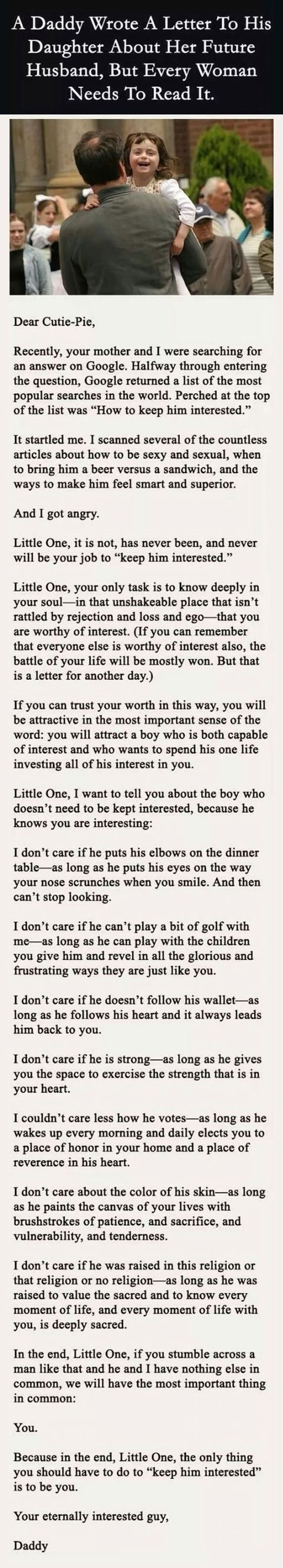 Awesome letter from a father to his daughter