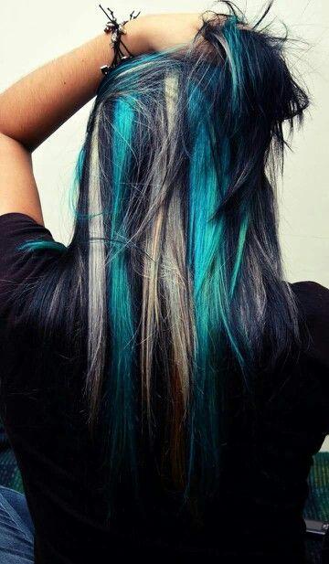 Blue And White Peek A Boo Highlights Hair Ideas Hair