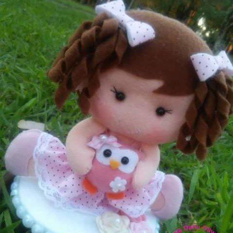 Topo de bolo Baby com sua Mascotinha Corujinha ❤ #ateliedanyoliveira #feltro #feltrosantafe #felt #feitoamao #baby