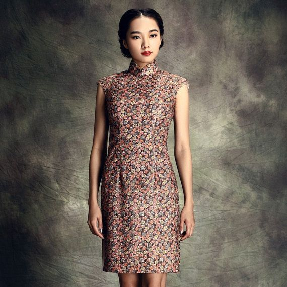 Tiny Floral Print Sleeveless Qipao Gown Floral