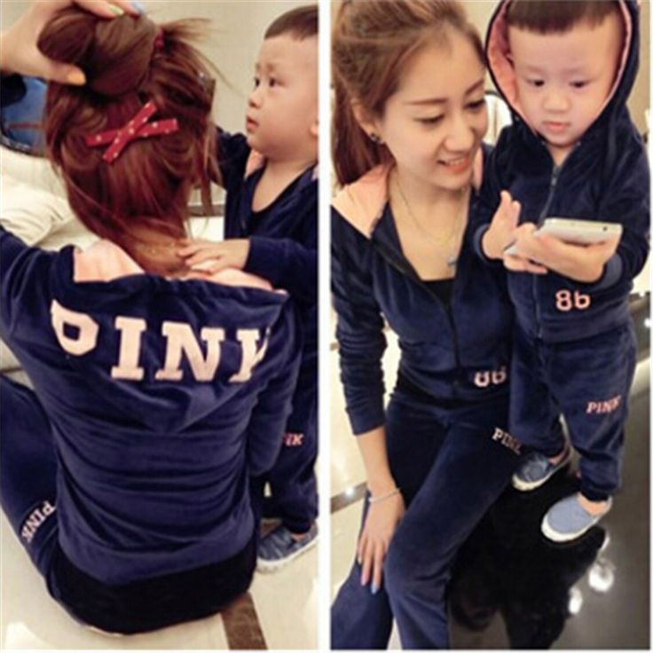 2016 autumn family clothing sets monther daughter son velvet sports wear mum baby outfits with hood coat +pants 2 pcs