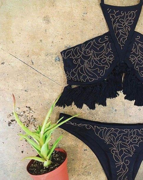 Swimwear: beach riot bikini tassel studded halter bikini boho