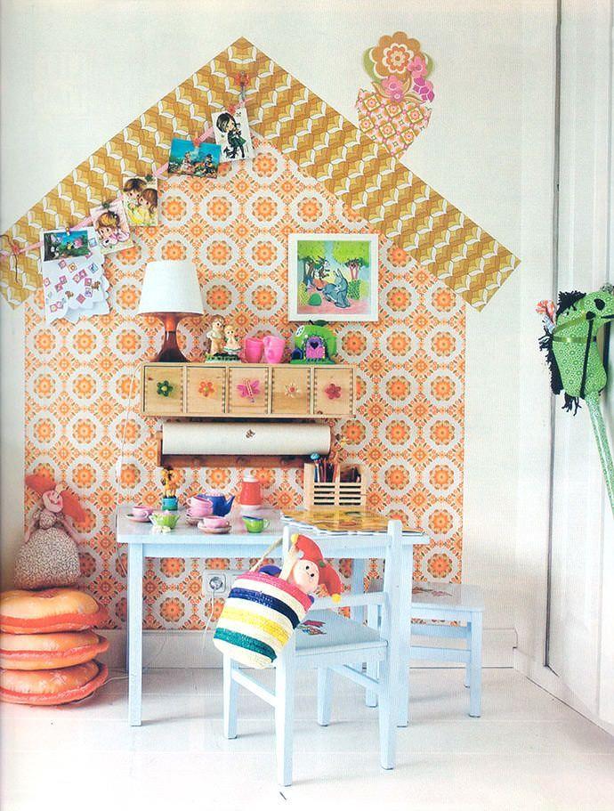 Retro orange wallpaper can be super fun in a child's room (via MikoDesign)