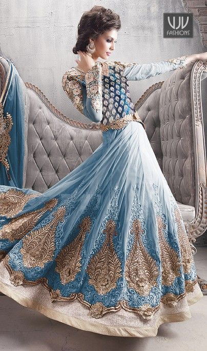 Buy Now @ http://goo.gl/IVtMqp Light Blue Zari Work Net Anarkali Bridal Ethnic Salwar Suit Light Blue net anarkali salwar suit with brocade patch, booti work, dangler, floral patch, lace, resham work and stones work seems to be chic and aspiration for any celebration. Suit. Product No VJV-ZOYA9007B @ www.vjvfashions.com #dress #dresses #bollywoodfashion #celebrity #fashions #fashion #indianwedding #wedding #salwarsuit #salwarkameez #indian #ethnics #clothes #clothing #india #bride
