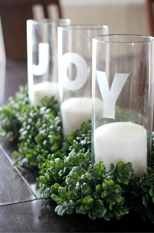 Etched Glass Christmas Centerpiece
