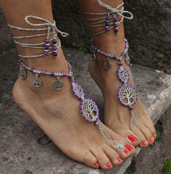 PURPLE Mood barefoot SANDALS, TREE of Life, Foot jewelry, Hippie Sandals, Beach Wedding, Beaded crochet, Yoga accessories, Ethnic Boho Shoes