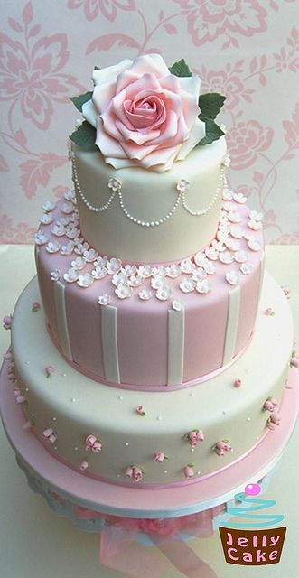 Pink Roses and Blossoms Wedding Cake by www.jellycake.co.uk, via Flickr