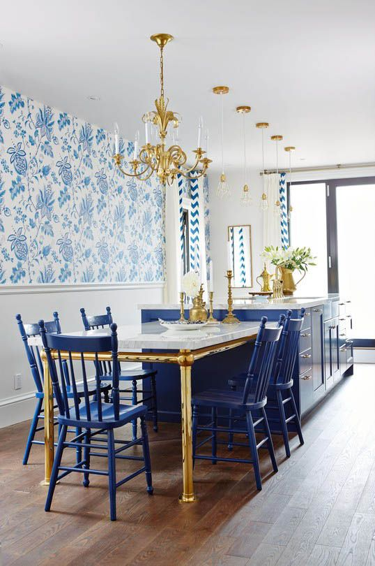 gorgeous blues and golds in this kitchen + dining room