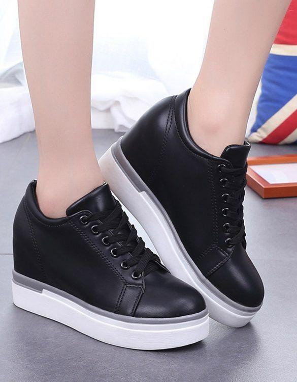 siyah platform gizli topuk bağcıklı ayakkabı sk23399