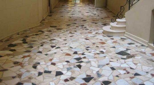 Pin 2: This terrazzo floor is good for put on the hall of the building or house, for be a easy to clean and maintain. Also has a attractive look.