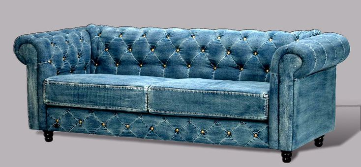 Tufted Denim Chesterfield Sofa Transitional Living Room