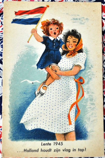 This card fits precisely in this time of year.  Tomorrow is Queensday,  and may 5 is liberationday.  The day we celebrate the end of world war 2.