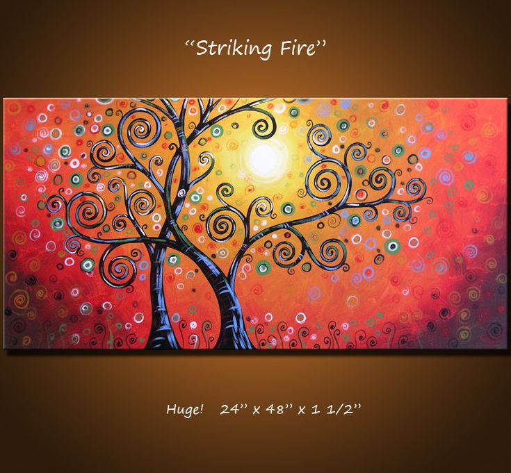 "Original Large Abstract Painting Modern Contemporary Landscape ... Ready to hang ... 24 x 48 .. ""Striking Fire"". $360.00, via Etsy."