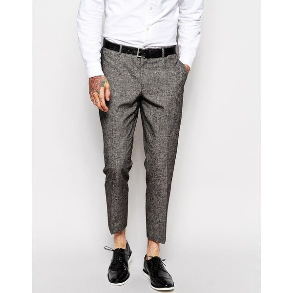 ASOS Slim Smart Cropped Pants ($22) ❤ liked on Polyvore featuring men's fashion, men's clothing, men's pants, men's casual pants and grey