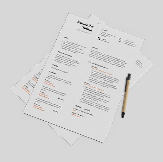 Clean Resume Template Instant Download  Cover Letter  by papernoon