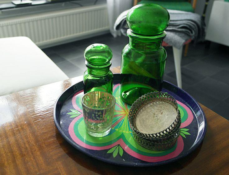 Green, retro, medicine bottles