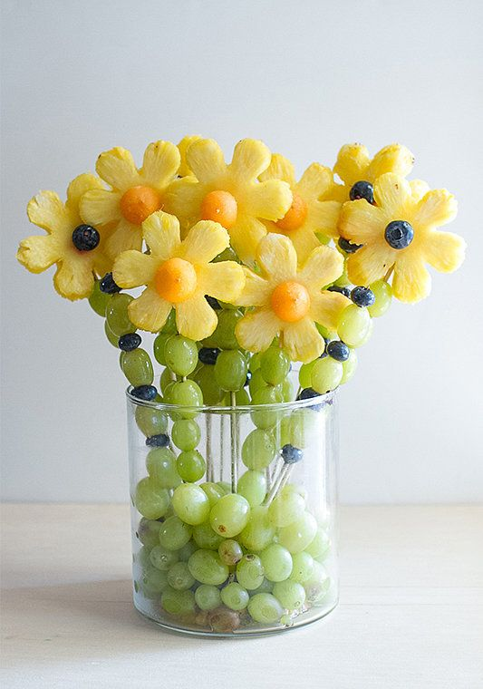 One Crafty Thing's melon and grape bouquet doubles as dining room decor.