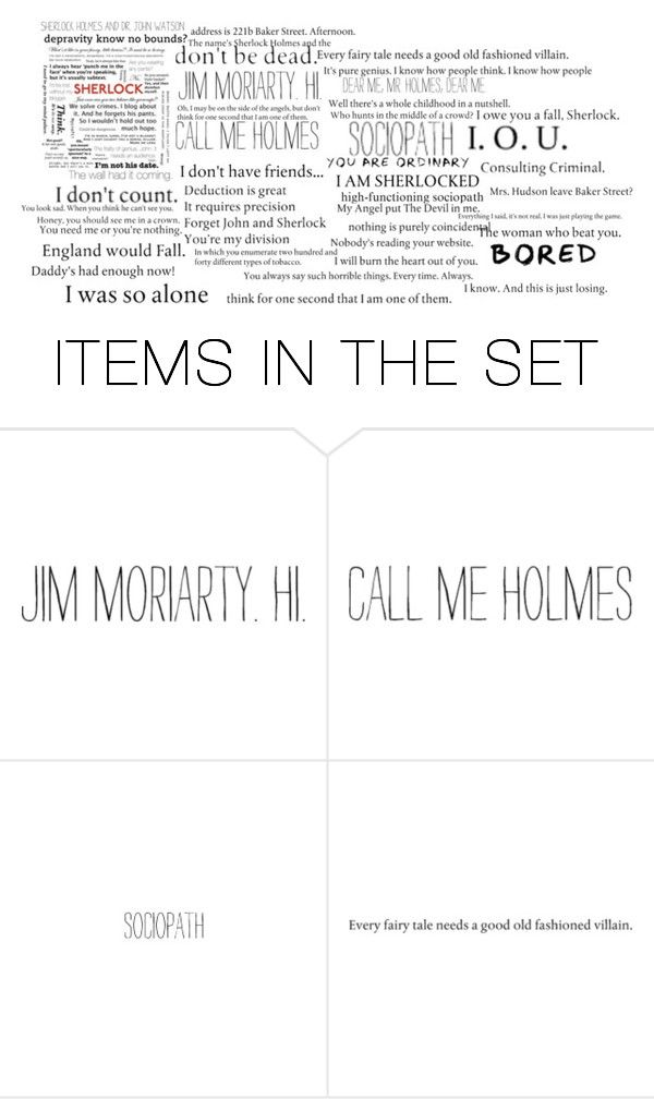 """Sherlock Quotes"" by tormentedmdw921 ❤ liked on Polyvore featuring art, sherlock, Molly, johnwatson, Moriarty and BBV"