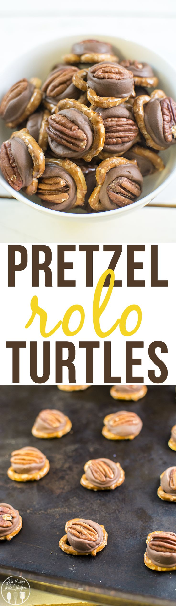 Pretzel Rolo Turtles - these tasty and cute pretzel rolo turtles are only 3 ingredients, take less than 10 minutes to make, and are a perfect sweet and salty treat.
