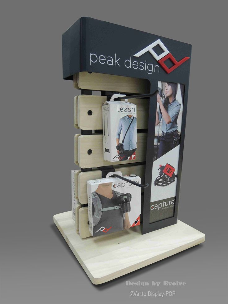 PEAK DESIGN counter top display for accessories. custom point of purchase display. Artto display