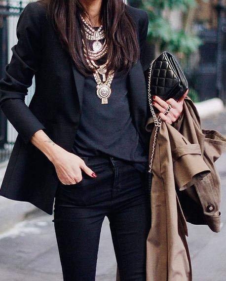 Black Blazer, Black Tee, Statement Necklaces, & Black Denim {Rocker, Edgy, Grunge, Indie, Moto, Punk, Chic} www.lovekrystle.com