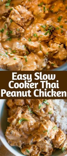 Slow Cooker Thai Peanut Chicken is an easy weeknight meal made with coconut milk, lime juice, peanut butter, ginger and garlic. Skip the delivery!