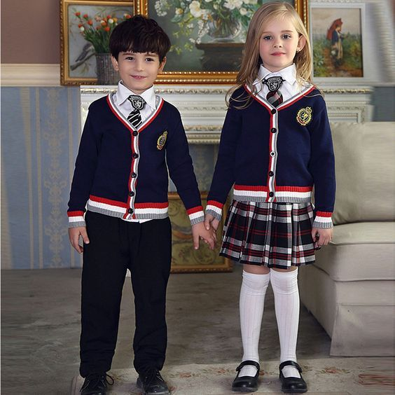 Spring Autumn fashionable korean british school uniform for girls&boys primary school kids tracksuit children clothing set