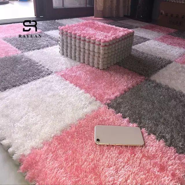 Online Shop Rayuan One Piece 30x30cm Eva Foam Diy Puzzle Mat Long Hair Villi Shaggy Carpet Mat Plush Sof Puzzle Mat Soft Rug Interlocking Carpet Tile