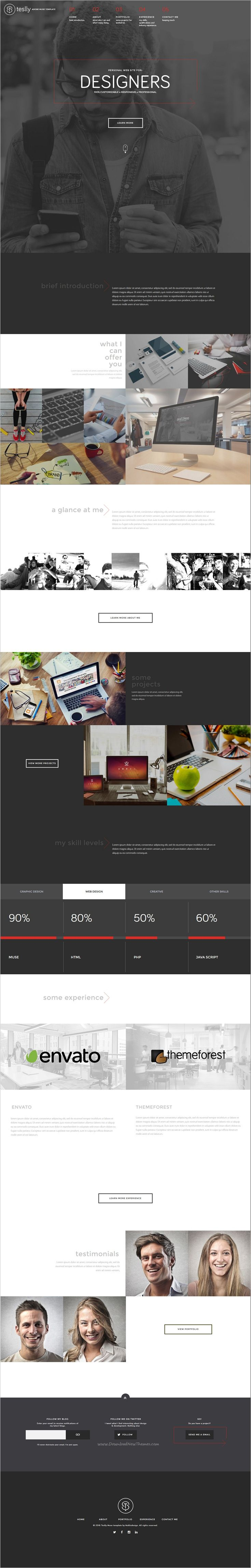 Teslly is a modern and clean @Adobe #Muse template designed for Personal, #Designer, #Freelancer or Businessman website download now➩  https://themeforest.net/item/teslly-personal-web-portfolio-muse-template/18723557?ref=Datasata