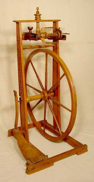 1842 Carved & Decorated Upright Spinning Wheel NR