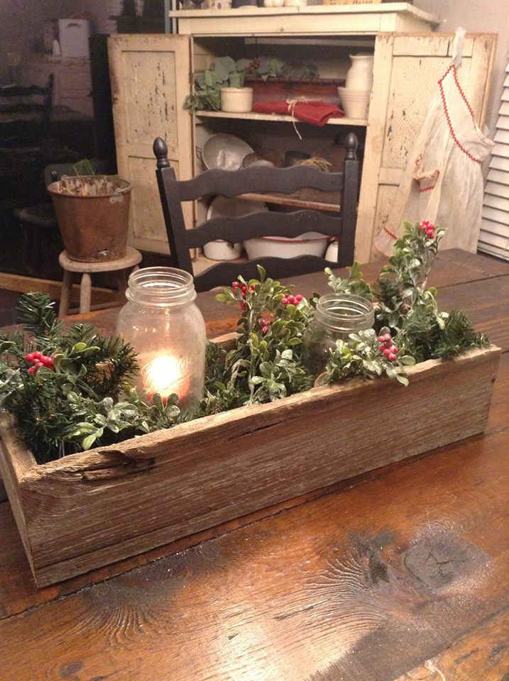 Old wooden box makes a great centerpiece~ Follow me on FB  https://www.facebook.com/pages/Dumpster-Diva/265520813490127