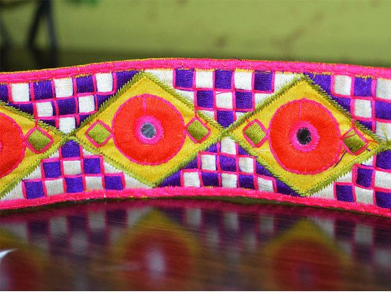 Embroidered trim - Silk Sari border - Kutch Embroidery Pattern - Silk Fabric Trim in yellow, purple, magenta, red, green - Lace and Trims