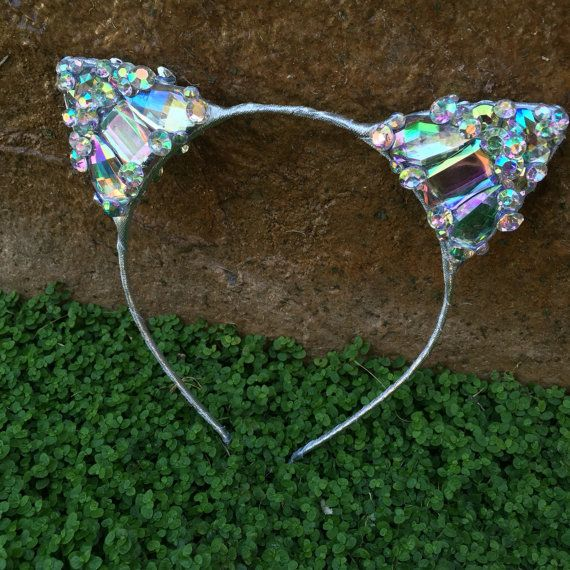 Pre-order Diamond Silver Kitty Cat Ears Wire by KulturShop on Etsy