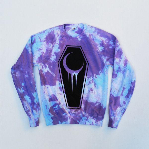 Pastel Goth Crescent Coffin Unisex Sweatshirt/Jumper Hipster Indie... ($25) via Polyvore featuring men's fashion, men's clothing, hipster mens clothing, men's apparel, goth mens clothing and gothic mens clothing