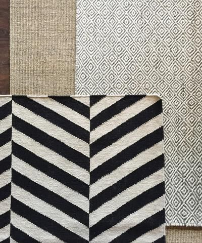 Salma Herringbone Wool Flatweave Rug, Black