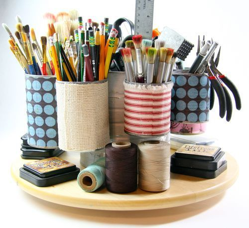 Tin can organizer. DIY! Put them on a pivoting tray! Perfect to