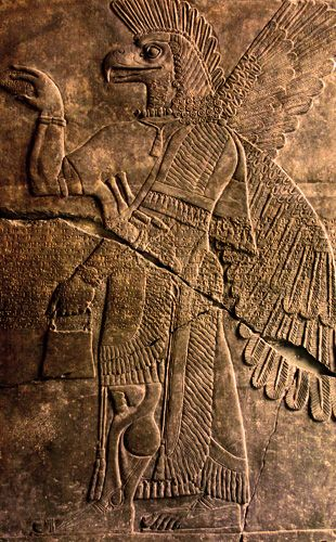 Sumerian depiction of an Annunaki, Sumerian mangel from the other planet, Nebiru. About 4000 years later the Bible editors copied them with their version of the angels and fallen angels.