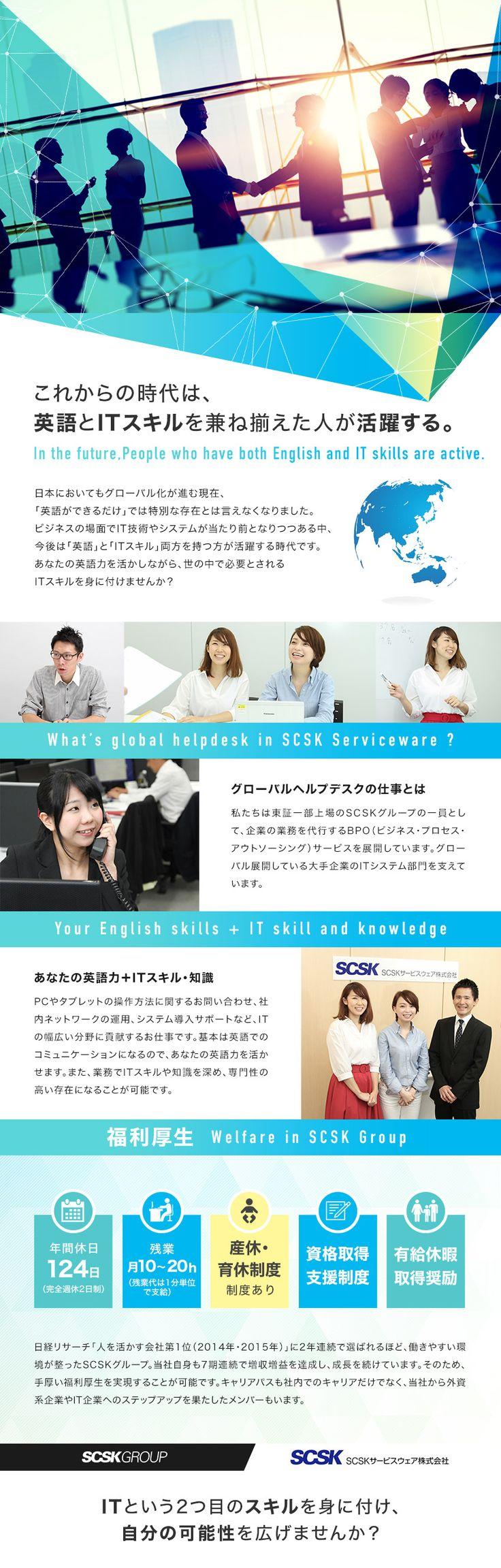 SCSKサービスウェア株式会社/(未経験歓迎)英語力が活かせるグローバルヘルプデスク/「英語+IT」でキャリアを築けますの求人・求人情報ならDODA(デューダ)。仕事内容など詳しい採用情報や職場の雰囲気が伝わる情報が満載。