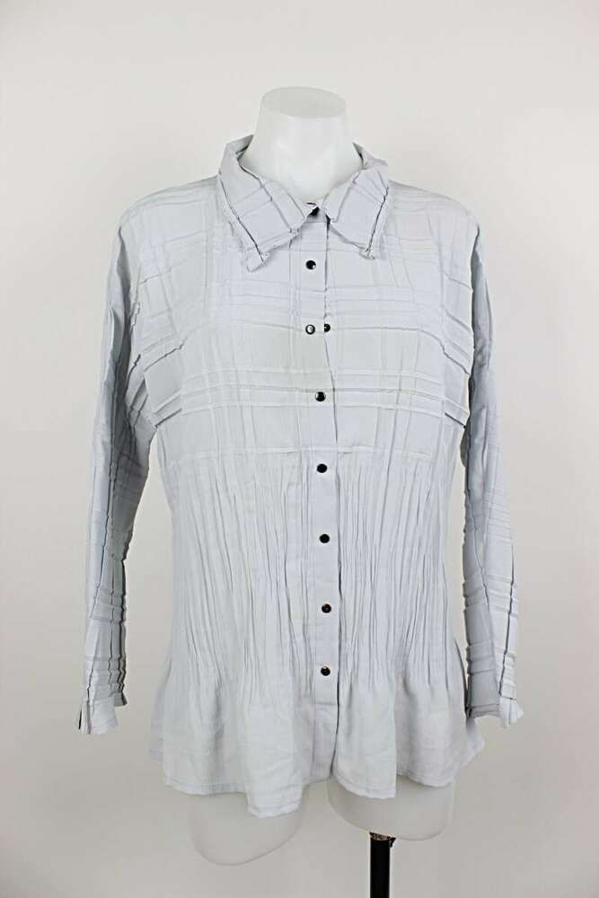 Babette Art To Wear Pleated Button Up Flaw Top Medium Fashion