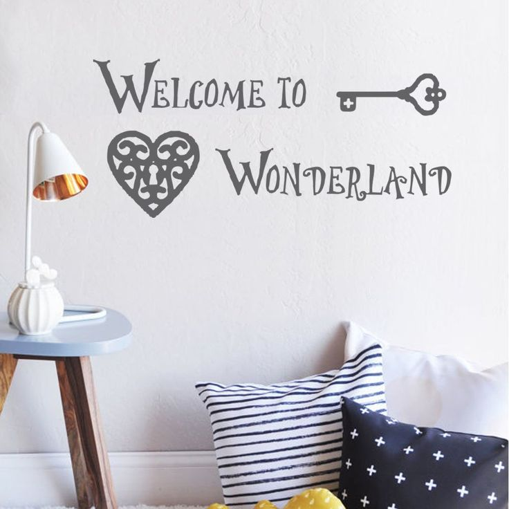 Wall Decal Welcome To Wonderland Quote Alice In Wonderland Wall Decals Baby Bedding Nursery Kids Bedroom Home Decor(Black,s). High quality, grade matte vinyl, 100% Environmental-friendly for Vinyl decal. 100% Original and Excellent design from Decor Palace. Vinyl wall decal suitable for clean, smooth and flat surface, such as mirror, glass,interior & exterior wall, wooden door and so on. Do not apply for rough, uneven surface. Our vinyl decal is easy to remove and easy to peel. It is…