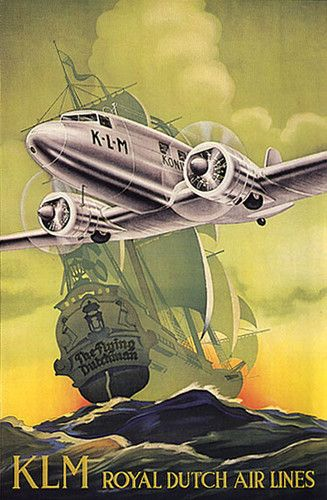 AIRPLANE KLM ROYAL NETHERLANDS DUTCH AIR LINES FINE LARGE VINTAGE POSTER REPRO | eBay