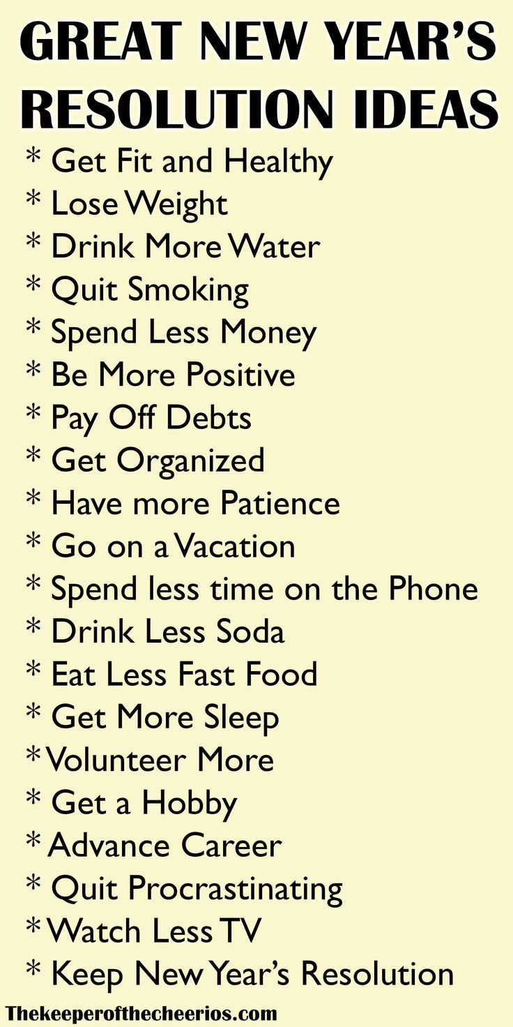 New Years Resolution Ideas New years resolution list