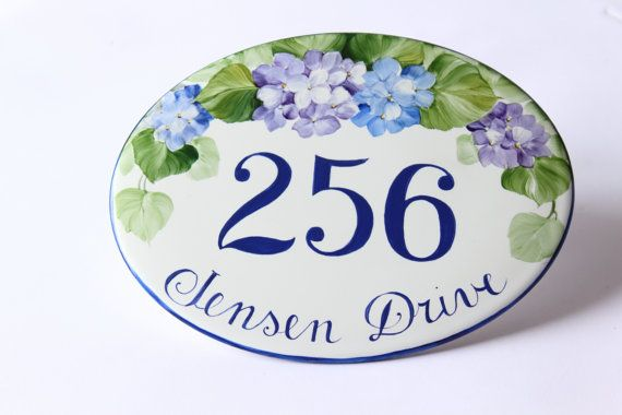 Hand painted Flowers Number sign/ Home Address Sign/ House number/ House number plaque/ wall number sign/ wall hanging sign