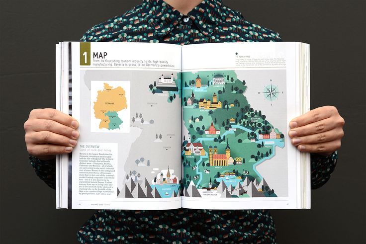 Editorial illustration for the Bavaria survey in Monocle Magazine, issue 88 , including a full spread map of Bavaria and spot illustrations about bavarian life style, traditions and stereotypes.