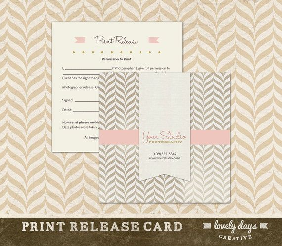 Photography Print Release Template for Photographers INSTANT DOWNLOAD